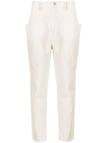 Beżowy bawełna jeansy na wysokości z kieszeniami z łatami Isabel Marant