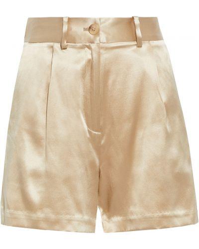 Шелковые бежевые шорты с карманами Nili Lotan
