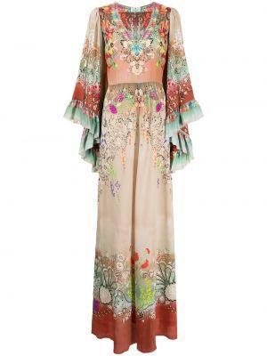 Бежевое платье макси в цветочный принт Etro