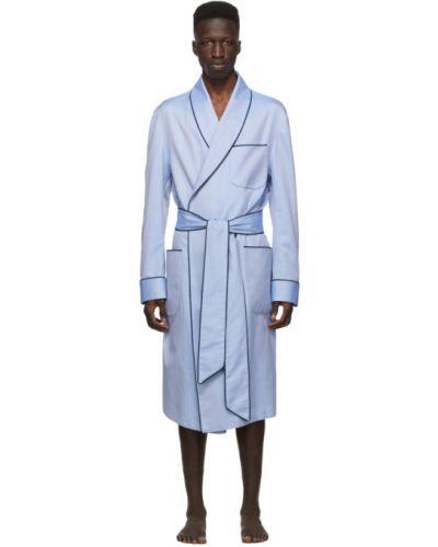Черный хлопковый халат с длинными рукавами Paul Stuart