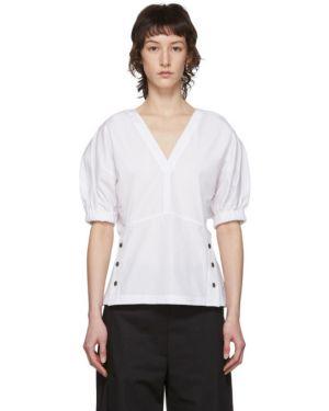 Bluzka z krótkim rękawem na gumce biała 3.1 Phillip Lim