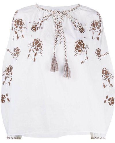 Bawełna bluzka z długimi rękawami z haftem Parosh