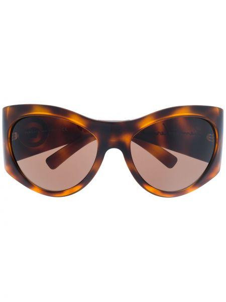 Солнцезащитные очки круглые металлические хаки Versace Eyewear