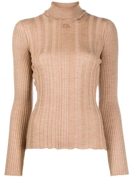 Коричневый свитер из верблюжьей шерсти с длинными рукавами с заплатками Courrèges