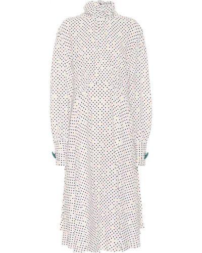 Biały klasyczny sukienka midi z wiskozy przycięte Christopher Kane