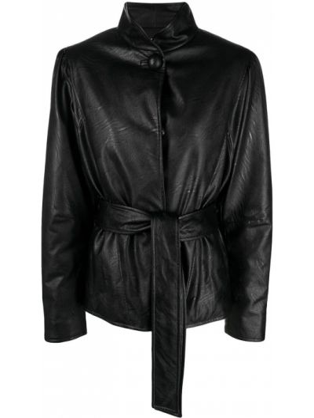Черная кожаная куртка с поясом Gina