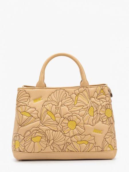 Бежевая кожаная сумка из натуральной кожи Marina Creazioni