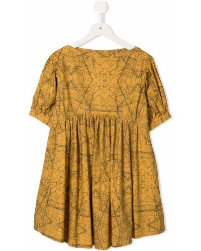 Платье с рукавами плиссированное коричневый Spilow