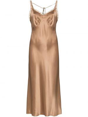 Шелковое платье миди - бежевое Reformation