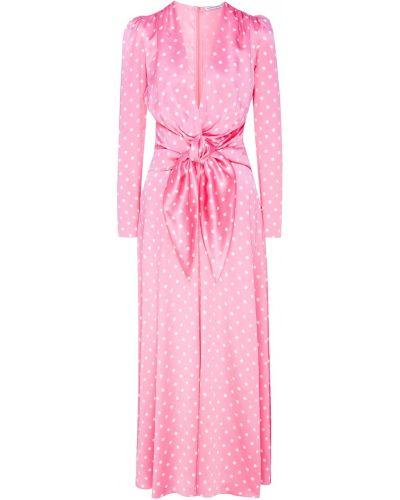 Платье с поясом розовое в горошек Alessandra Rich