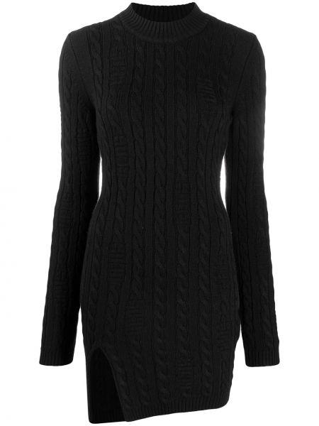 Шерстяное с рукавами черное платье мини Gcds