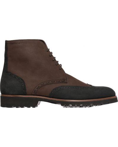 Ботинки на каблуке осенние из нубука Pakerson