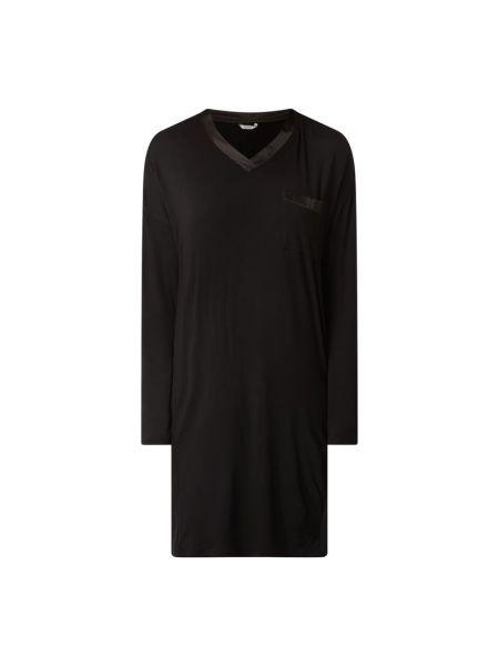 Czarny koszula nocna z dekoltem z kieszeniami z wiskozy Esprit