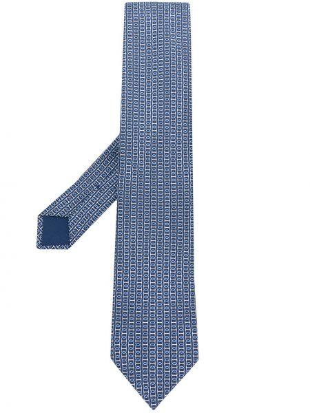 Biały krawat żakard Hermes