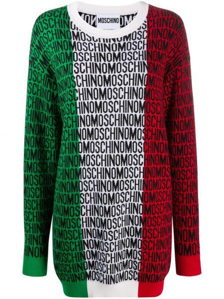 Вязаное платье в рубчик свободного кроя круглое Moschino