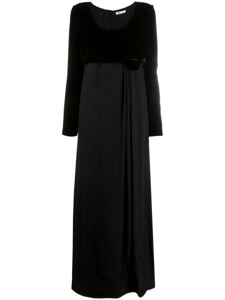 Черное платье с длинными рукавами свободного кроя с вырезом Ports 1961