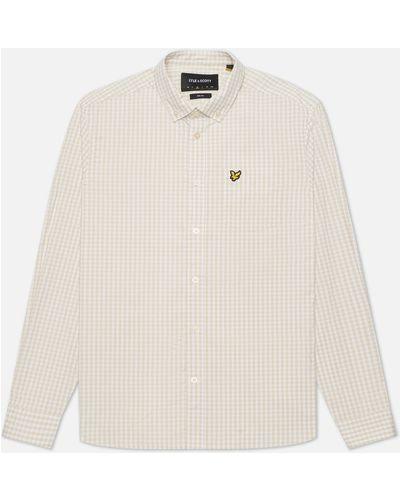 Белая хлопковая рубашка slim Lyle & Scott