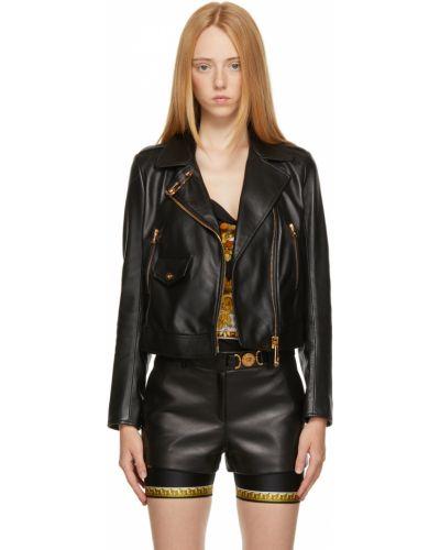 Черная куртка длинная Versace