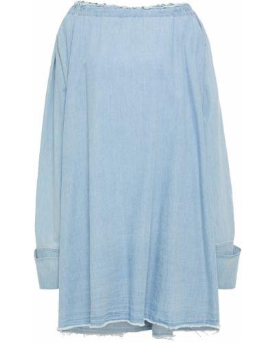 Niebieska sukienka mini bawełniana Marques Almeida