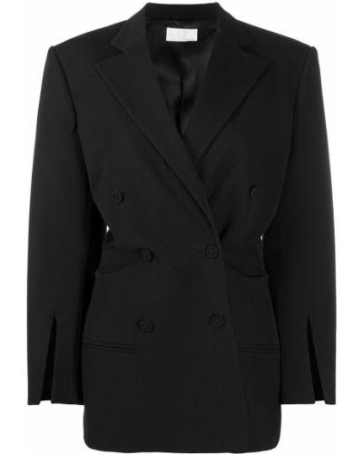 Черный удлиненный пиджак двубортный на пуговицах Sara Battaglia