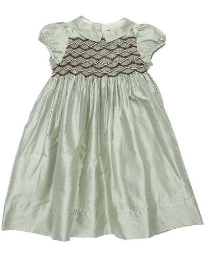 Шелковое платье - зеленое Bonpoint