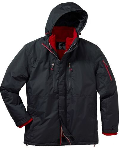 Куртка с капюшоном флисовая черная Bonprix