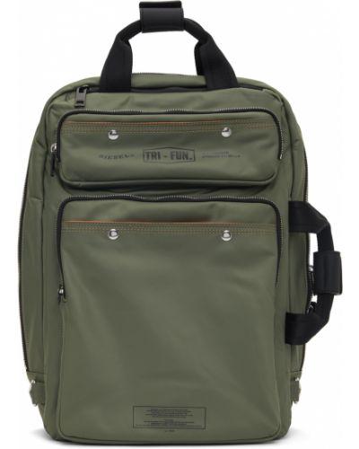 Czarny plecak na laptopa srebrny z haftem Diesel