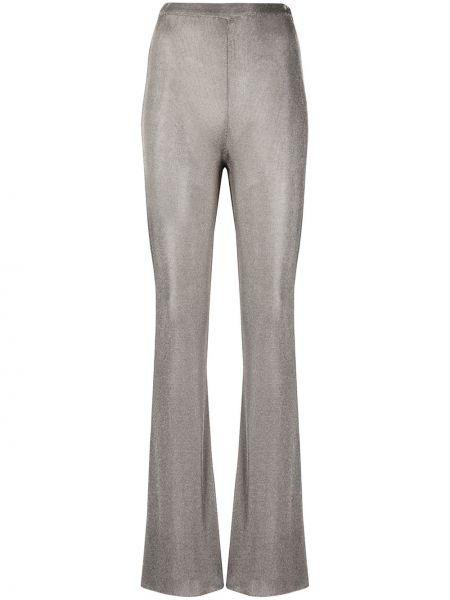 Серебряные расклешенные брюки с поясом с высокой посадкой Mugler
