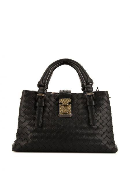 Кожаная золотистая черная сумка-тоут Bottega Veneta Pre-owned