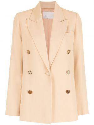 Розовый удлиненный пиджак с накладными карманами на пуговицах Nk