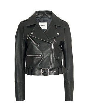 Кожаная черная кожаная куртка Max & Moi