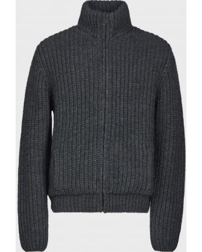Шерстяная серая кофта на молнии Trussardi Jeans