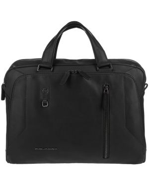 Кожаная сумка на молнии черная Piquadro