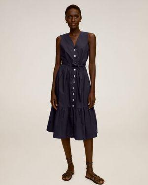 Платье с поясом с V-образным вырезом с рукавами Mango