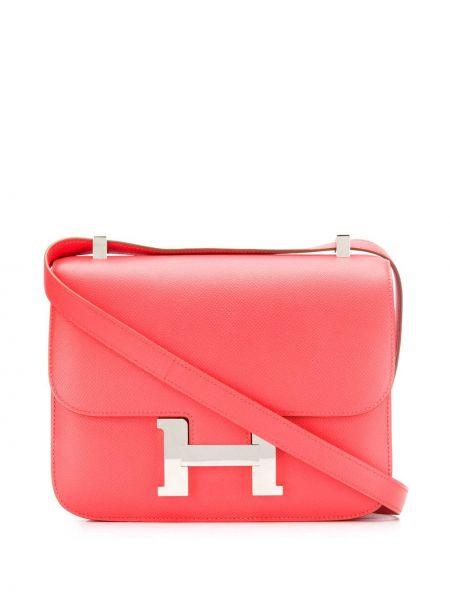Розовая кожаная сумка на плечо винтажная Hermes