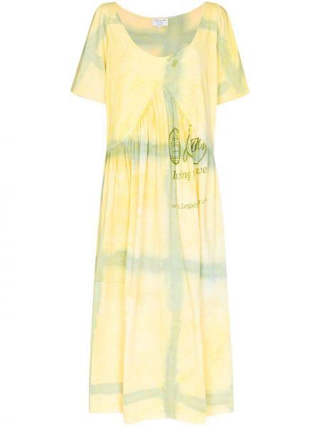Bawełna żółty rozbłysnął sukienka mini krótkie rękawy Collina Strada