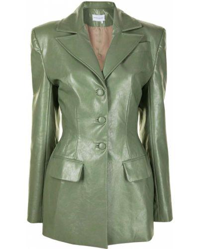 Зеленый кожаный пиджак на пуговицах Aleksandre Akhalkatsishvili