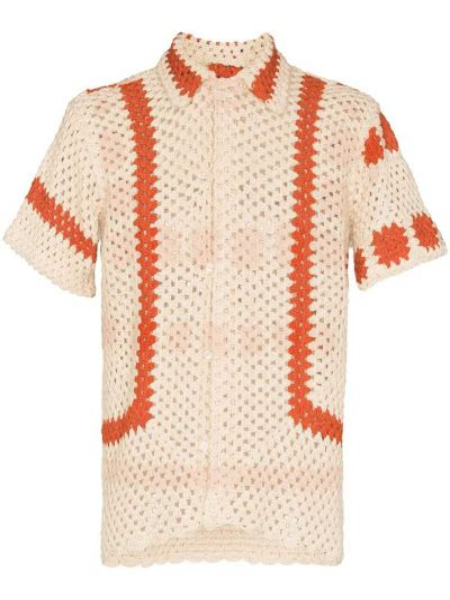 Pomarańczowa koszula bawełniana Bode
