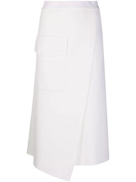 Wełniany biały spódnica midi z kieszeniami Mrz