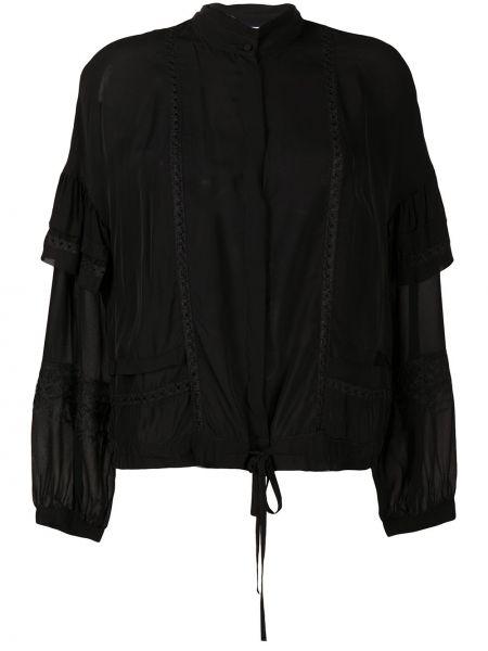 Черная ажурная блузка с длинным рукавом с вышивкой с V-образным вырезом Dondup