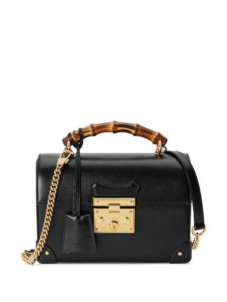 Черная сумка на цепочке круглая металлическая с подкладкой Gucci
