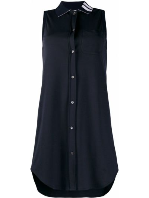 Niebieska sukienka mini bez rękawów bawełniana Thom Browne