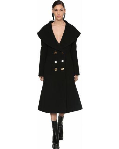 Шерстяное пальто - черное Loewe