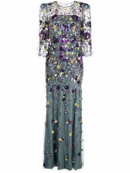Niebieska sukienka długa srebrna Jenny Packham