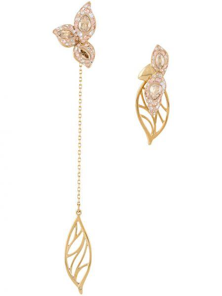 Szare złote kolczyki sztyfty pozłacane Atelier Swarovski