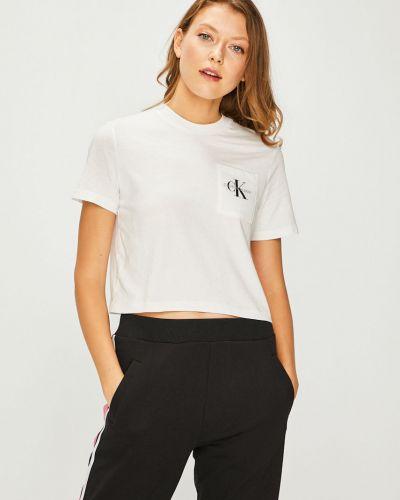 Футболка белая с декольте Calvin Klein Jeans