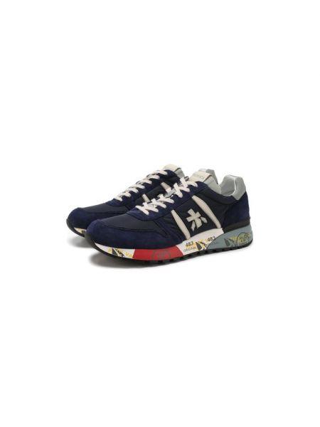 Синие комбинированные текстильные кроссовки с нашивками Premiata