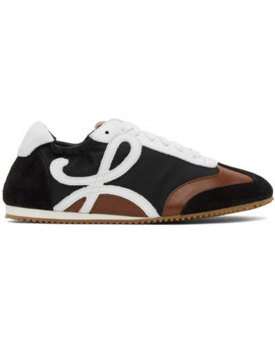 Нейлоновые черные кожаные кроссовки на шнуровке на каблуке Loewe