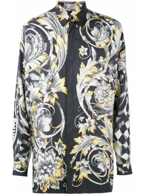 Шелковая черная рубашка винтажная Versace Pre-owned
