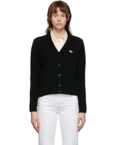 Черный кардиган с карманами с воротником с заплатками Maison Kitsuné
